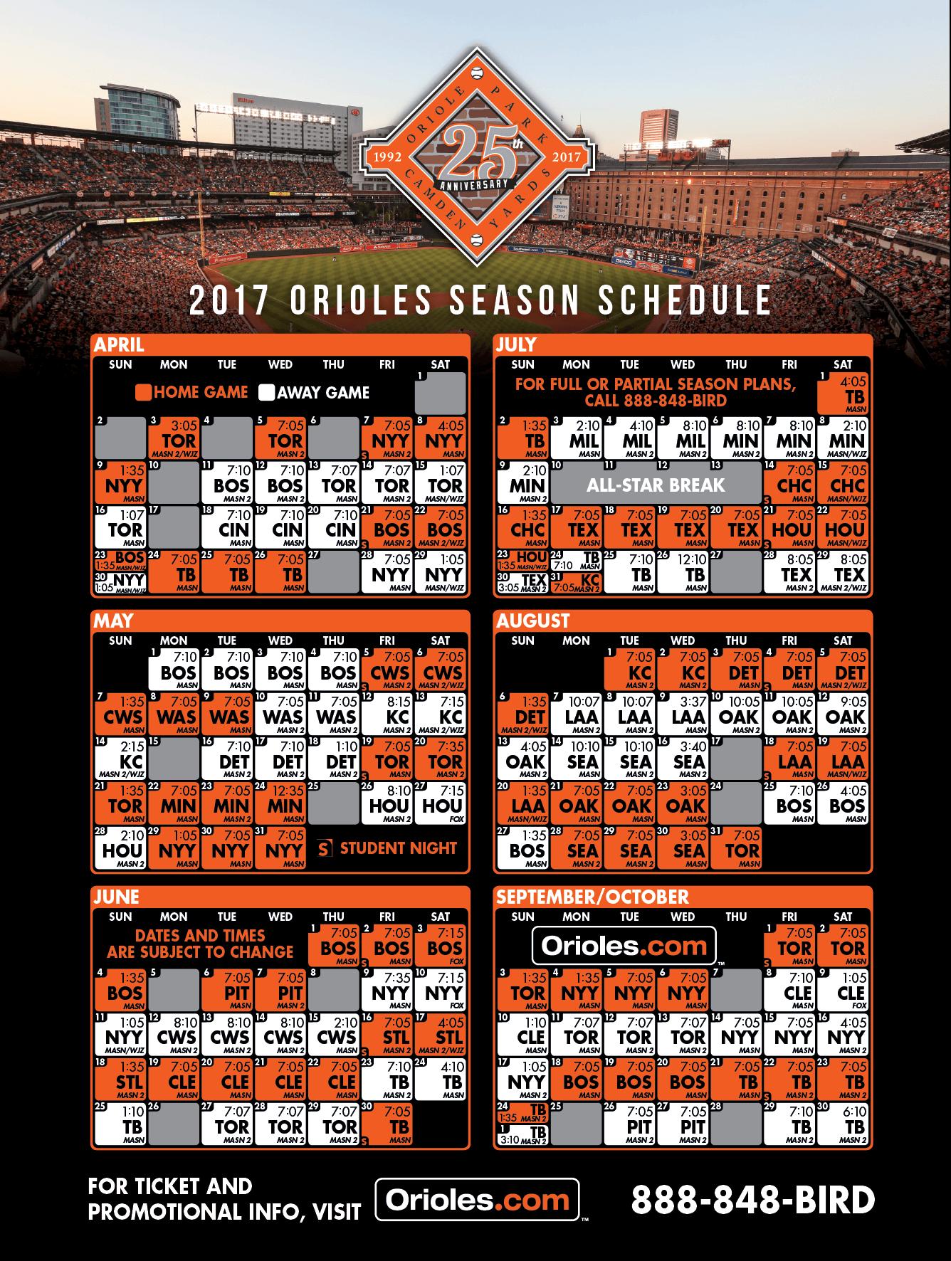 Baltimore Orioles 2017 Season Schedule