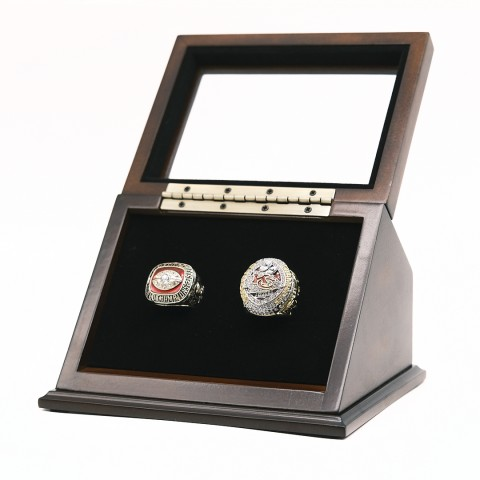 NFL 1969 2019 Kansas City Chiefs Super Bowl Championship Replica Fan Rings with Wooden Display Case Set