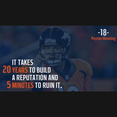Peyton Manning Denver Broncos Inspirational Reputation Quote Poster-Downloadable Digital PNG File - NFL Memorabilia
