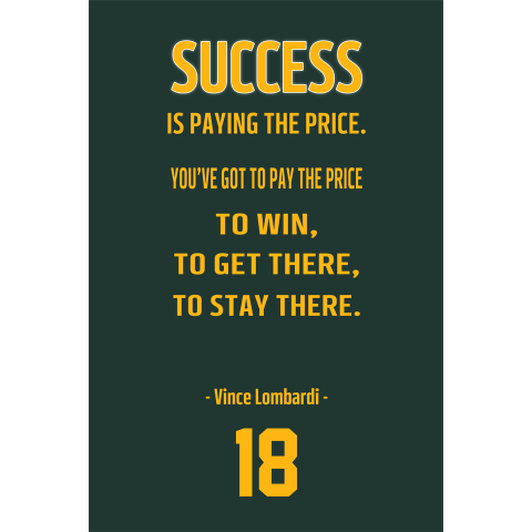Vince Lombardi Green Bay Packers Inspirational Quote Poster-Downloadable Digital PNG File - NFL Memorabilia