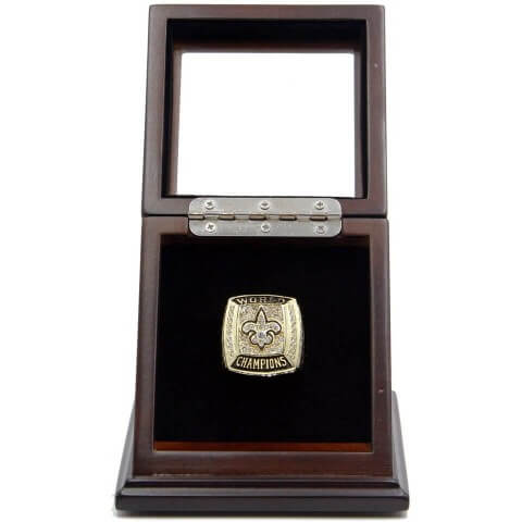 NFL 2009 Super Bowl XLIV New Orleans Saints Championship Replica Fan Ring with Wooden Display Case - Brees