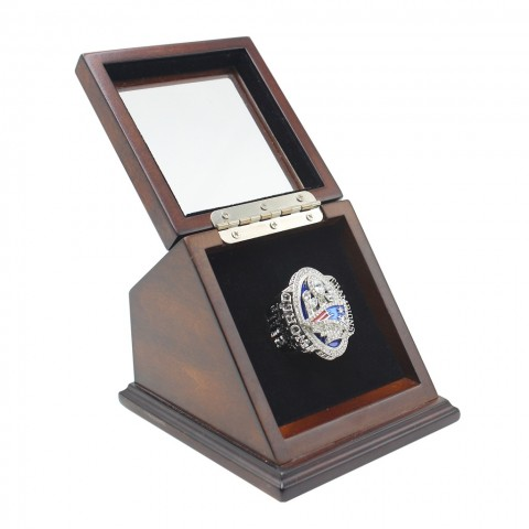 NFL 2016 Super Bowl LI New England Patriots Championship Replica Fan Ring with Wooden Display Case