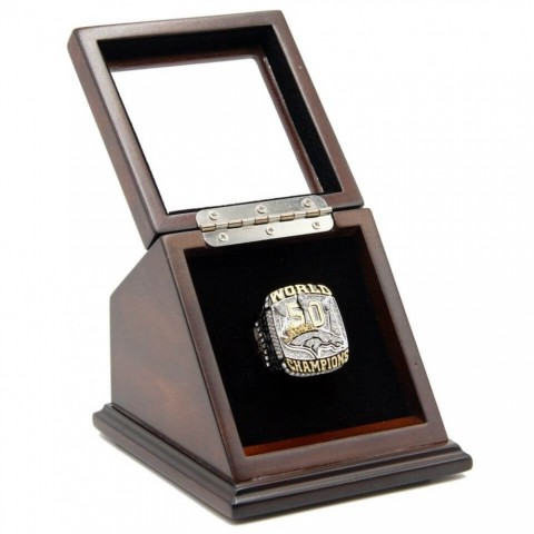 NFL 2015 Super Bowl L 50 Denver Broncos Championship Replica Fan Ring with Wooden Display Case - Miller