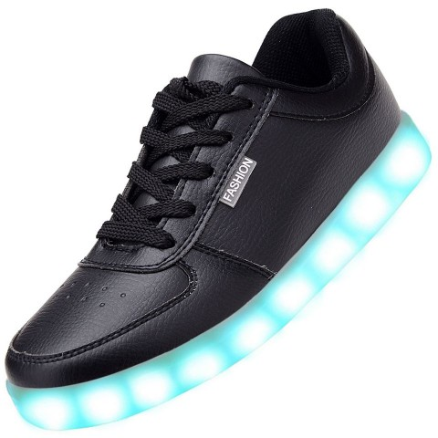 Men USB Charging LED Light Up Shoes Flashing Sneakers - Black
