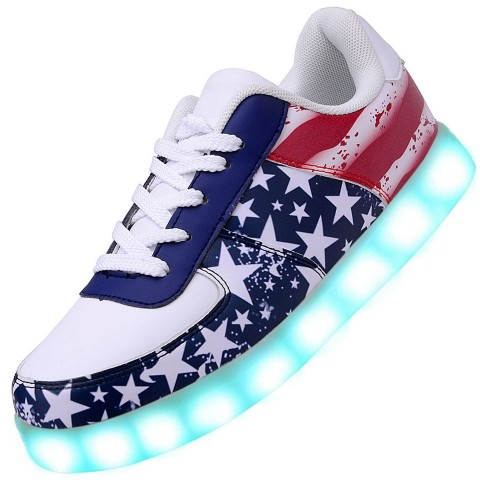 Men USB Charging LED Light Up Shoes Flashing Sneakers - Flag