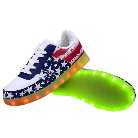 Women USB Charging LED Light Up Shoes Flashing Sneakers - Flag
