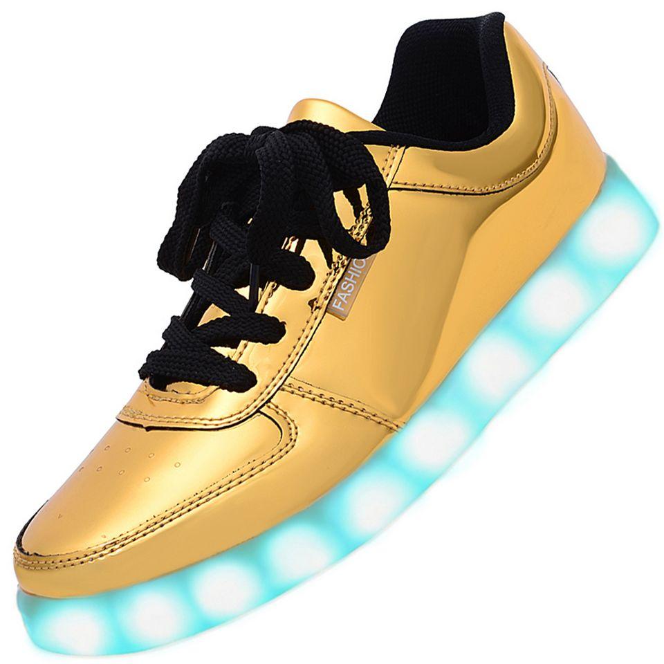 men usb charging led light up shoes flashing sneakers gold. Black Bedroom Furniture Sets. Home Design Ideas