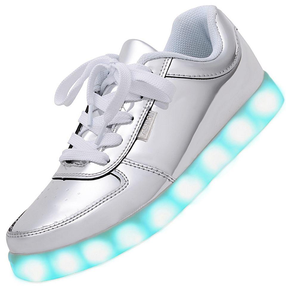 men usb charging led light up shoes flashing sneakers silver. Black Bedroom Furniture Sets. Home Design Ideas