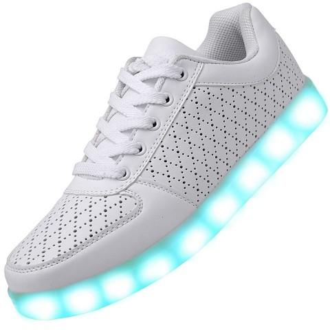 Men USB Charging LED Light Up Shoes Flashing Sneakers - White
