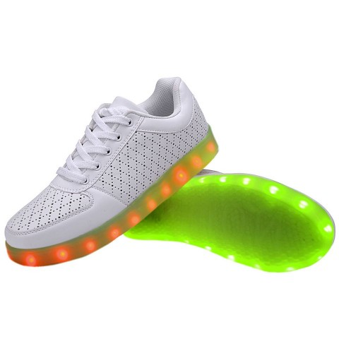 Women USB Charging LED Light Up Shoes Flashing Sneakers - White