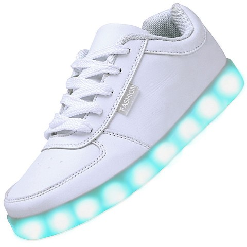 Men USB Charging LED Light Up Shoes Flashing Sneakers - White