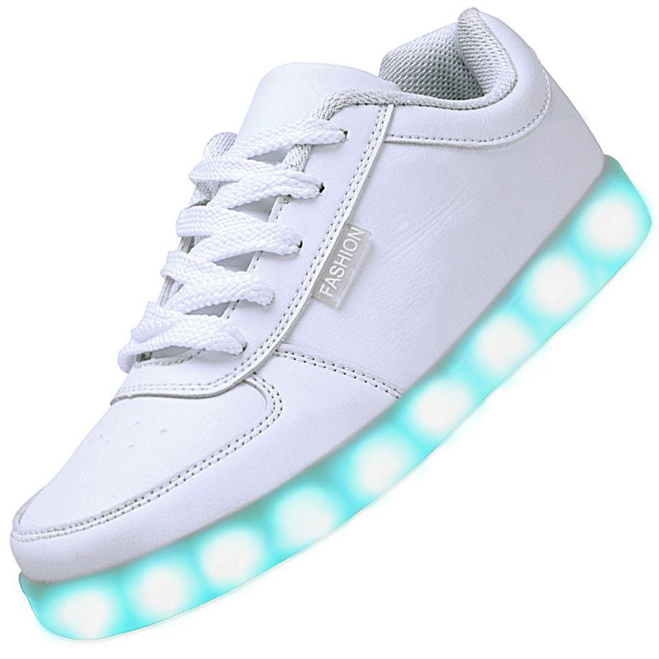 men usb charging led light up shoes flashing sneakers white. Black Bedroom Furniture Sets. Home Design Ideas