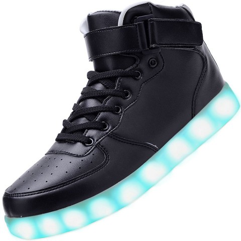 Men High Top USB Charging LED Light Up Shoes Flashing Sneakers - Black