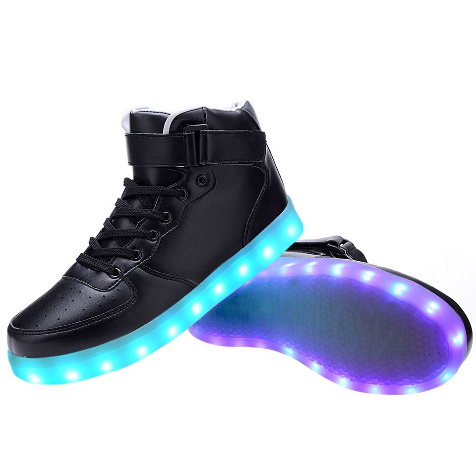 women high top usb charging led light up shoes flashing
