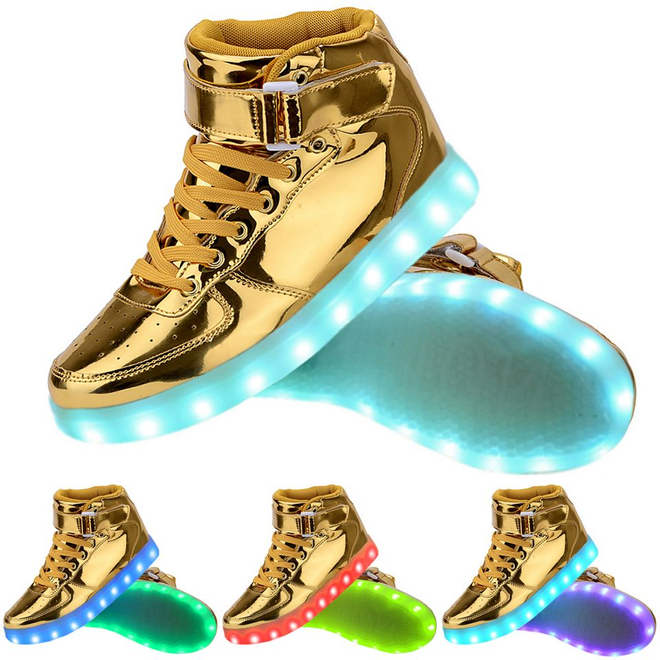 Women High Top USB Charging LED Light Up Shoes Flashing Sneakers - Gold 31e7450a1c