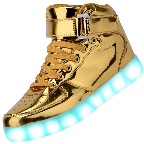 Men High Top USB Charging LED Light Up Shoes Flashing Sneakers - Gold