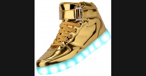 Men High Top Usb Charging Led Light Up Shoes Flashing