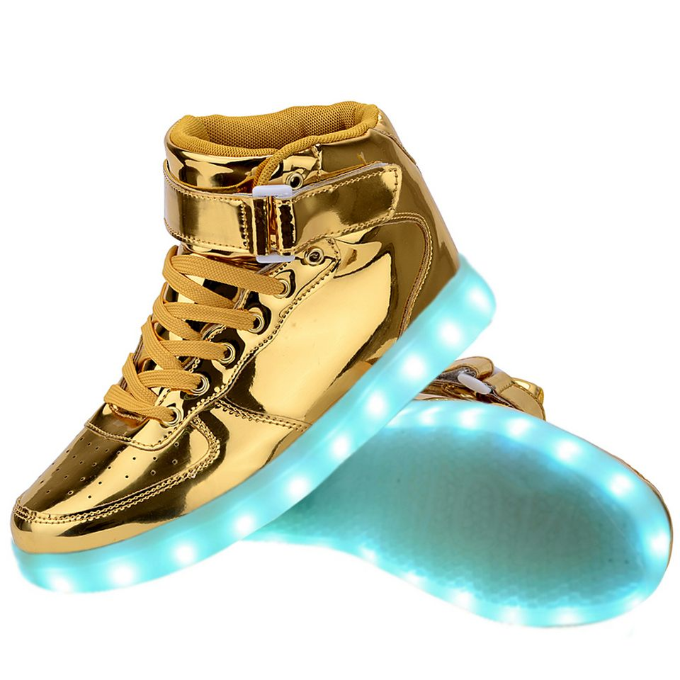 Men High Top Usb Charging Led Light Up Shoes Flashing
