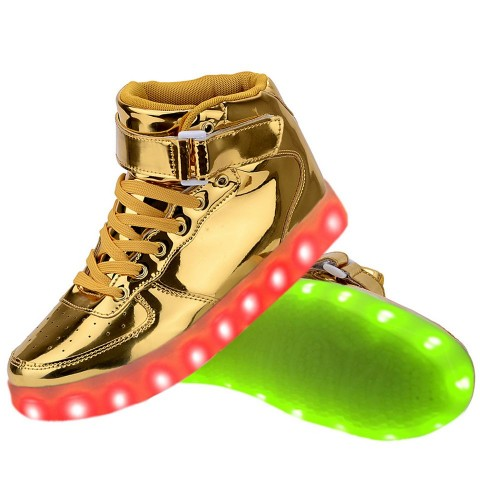 Women High Top USB Charging LED Light Up Shoes Flashing Sneakers - Gold
