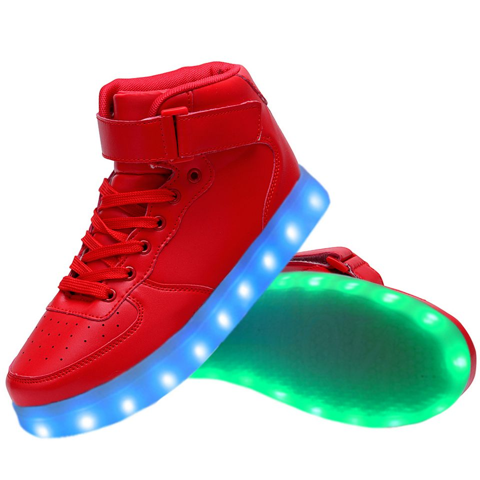 Women High Top USB Charging LED Light Up Shoes Flashing Sneakers - Red dd55b99f1ee0