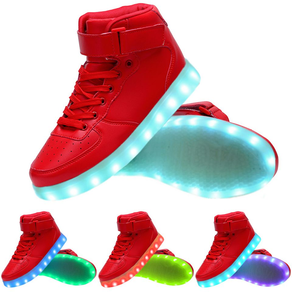 e038f20bf Women High Top USB Charging LED Light Up Shoes Flashing Sneakers - Red