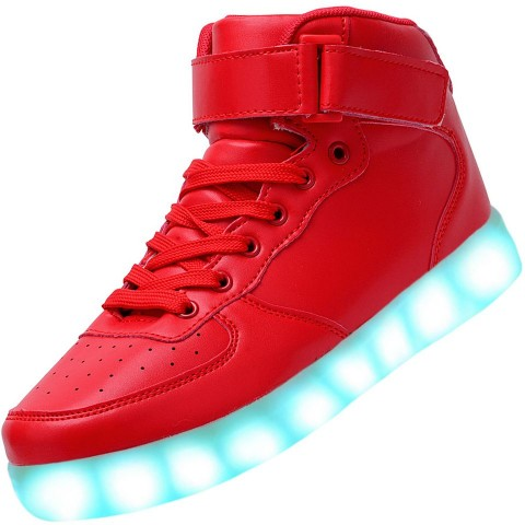 Men High Top USB Charging LED Light Up Shoes Flashing Sneakers - Red