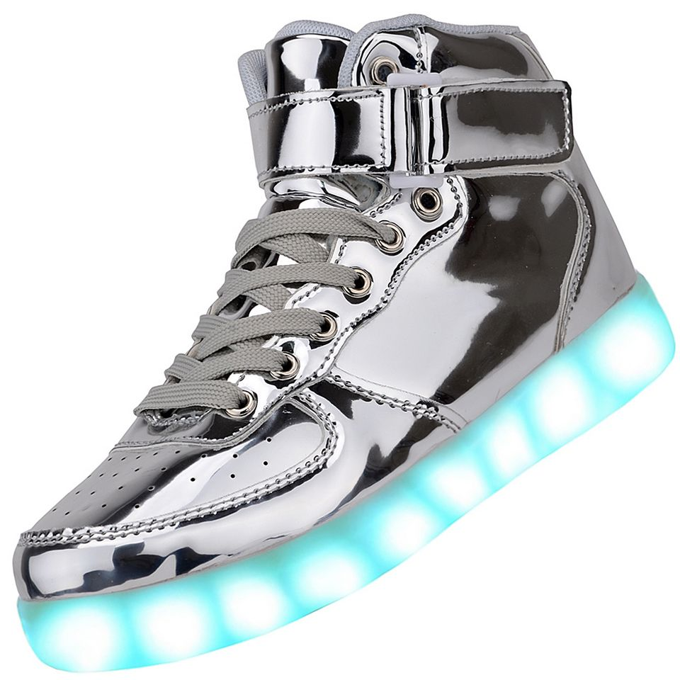Men High Top USB Charging LED Light Up Shoes Flashing Sneakers - Silver 42ab10ac504f