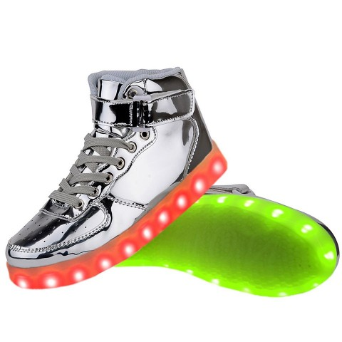 Women High Top USB Charging LED Light Up Shoes Flashing Sneakers - Silver