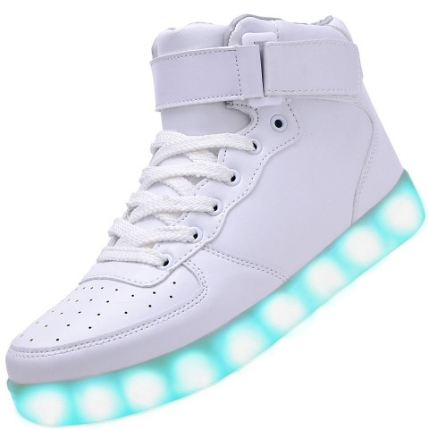 Men High Top USB Charging LED Light Up Shoes Flashing Sneakers - White