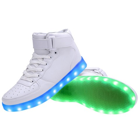 Women High Top USB Charging LED Light Up Shoes Flashing Sneakers - White
