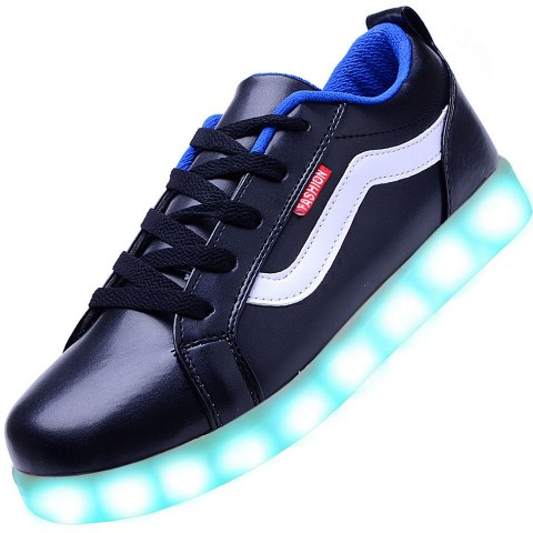Men USB Charging LED Light Up Sport Shoes Flashing Sneakers - Blue