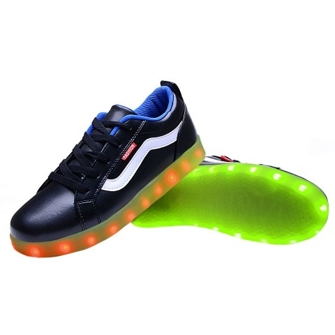 Women USB Charging LED Light Up Sport Shoes Flashing Sneakers - Blue