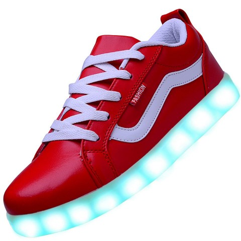 Men USB Charging LED Light Up Sport Shoes Flashing Sneakers - Red