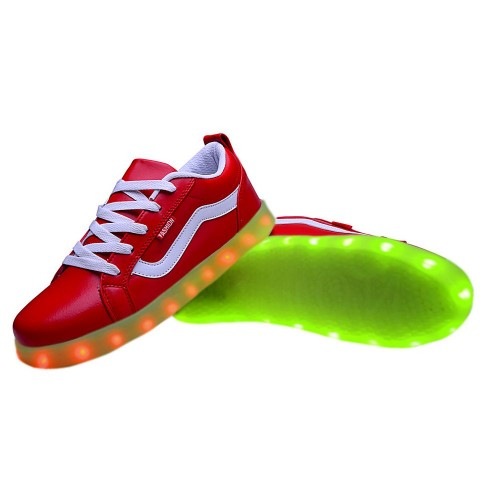 Women USB Charging LED Light Up Sport Shoes Flashing Sneakers - Red