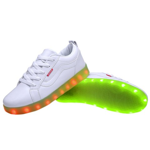 Women USB Charging LED Light Up Sport Shoes Flashing Sneakers - White