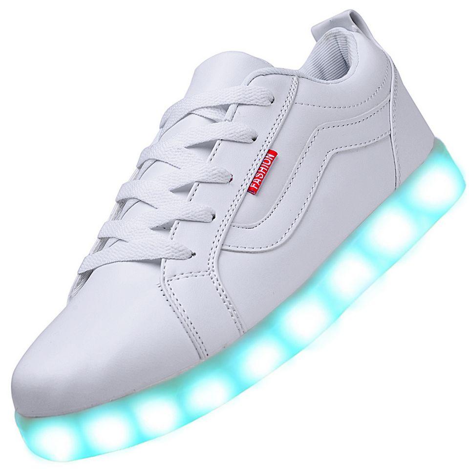 men usb charging led light up sport shoes flashing sneakers white. Black Bedroom Furniture Sets. Home Design Ideas