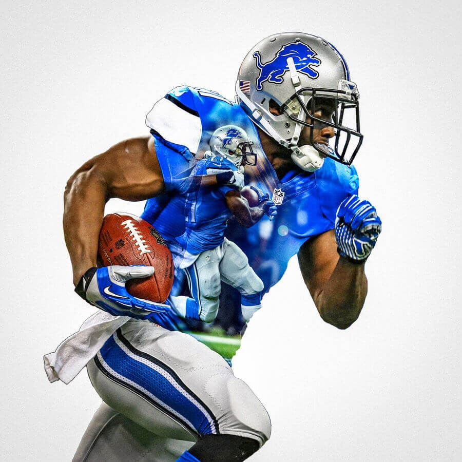 Detroit Lions Reggie Bush Football Wall Posters With 6