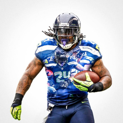 Seattle Seahawks Marshawn Lynch Football Wall Posters with 6 Sizes Unframed