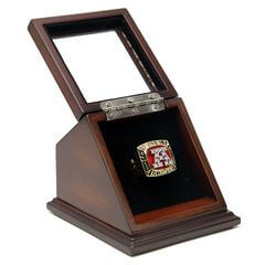 AFC 1991 Buffalo Bills Championship Replica Fan Ring with Wooden Display Case