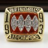 AFC 1993 Buffalo Bills Championship Replica Fan Ring with Wooden Display Case
