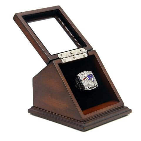 AFC 2011 New England Patriots Championship Replica Fan Ring with Wooden Display Case