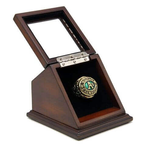 MLB 1974 Oakland Athletics World Series Championship Replica Fan Ring with Wooden Display Case