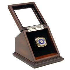 MLB 1985 Kansas City Royals World Series Championship Replica Fan Ring with Wooden Display Case