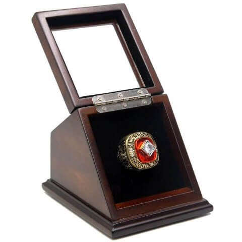 MLB 1991 Minnesota Twins World Series Championship Replica Fan Ring with Wooden Display Case