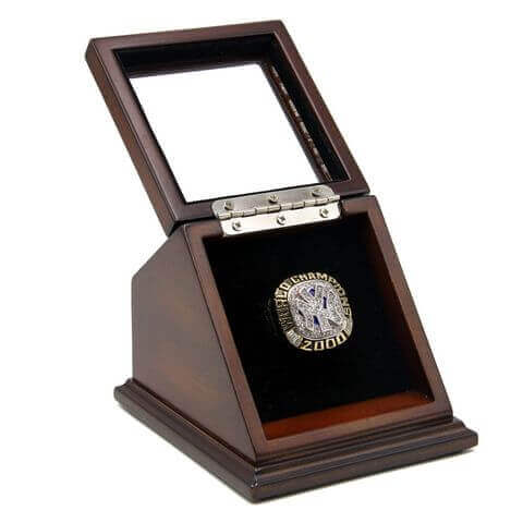 MLB 2000 New York Yankees World Series Championship Replica Fan Ring with Wooden Display Case