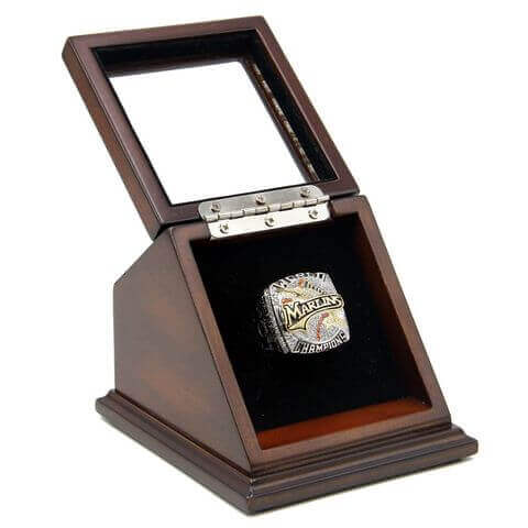 MLB 2003 Florida Marlins World Series Championship Replica Fan Ring with Wooden Display Case