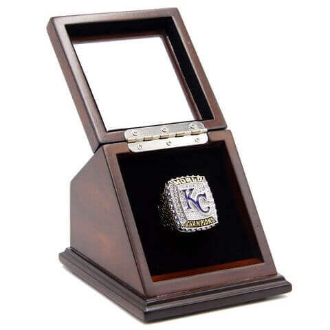 MLB 2015 Kansas City Royals World Series Championship Replica Fan Ring with Wooden Display Case