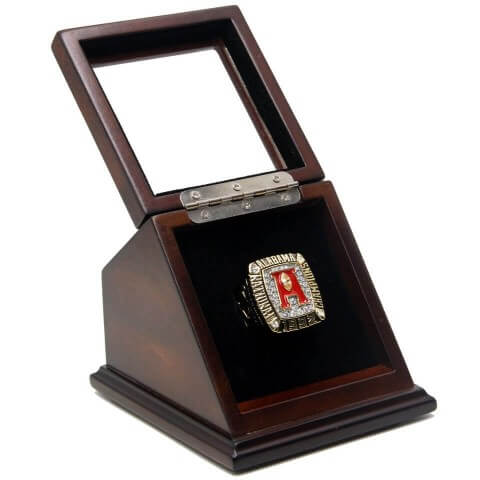 NCAA 1992 Alabama Crimson Tide Championship Replica Ring with Wooden Display Case