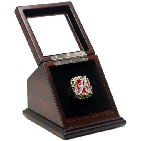 NCAA 2009 Alabama Crimson Tide Championship Replica Ring with Wooden Display Case