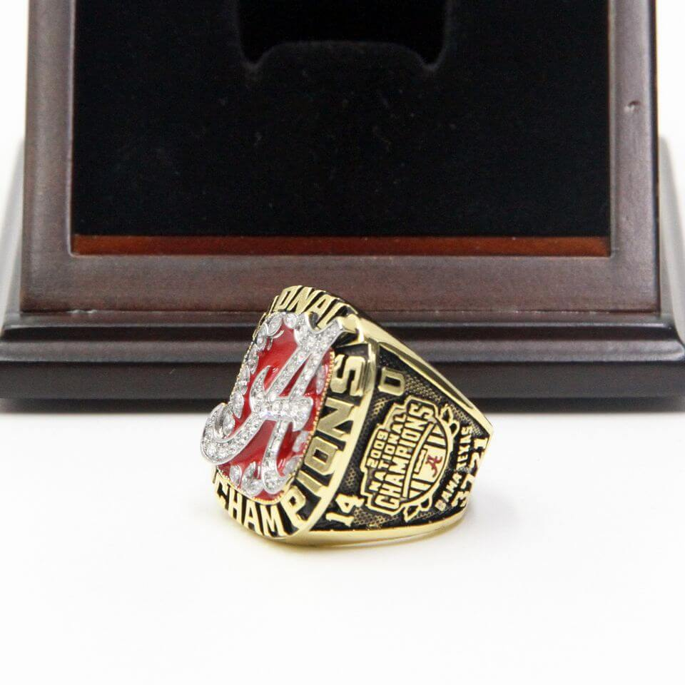 replica tide rings crimson display case wooden championship ncaa ring alabama with